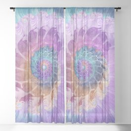 Painted Fractal Spiral in Turquoise, Purple, and Orange Sheer Curtain