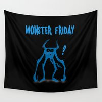 friday Wall Tapestries featuring Monster Friday by Anja Jacobsen