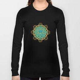 Hedgehog Paisley_Teal BgWhite Long Sleeve T-shirt