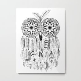 Owl with Feathers Metal Print