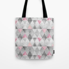 GRAPHIC PATTERN Sparkling triangles   silver & pink Tote Bag