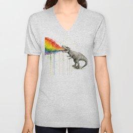 T-Rex Dinosaur Vomits Rainbow Unisex V-Neck