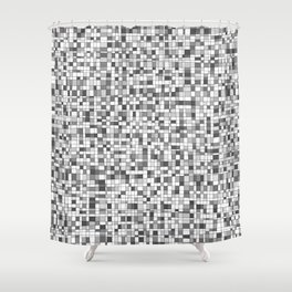 Gray Scale Grid - There's Nothing Left Shower Curtain
