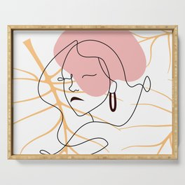 Modern abstract linear girl face and monstera leaf silhouette, minimalism art poster, pastel colors Serving Tray