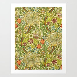 William Morris Calla Lilies, Tulips, Daffodils, & Red Poppies Textile Print Art Print