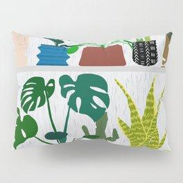 Plants on the Shelf in Gray + White Wood Pillow Sham