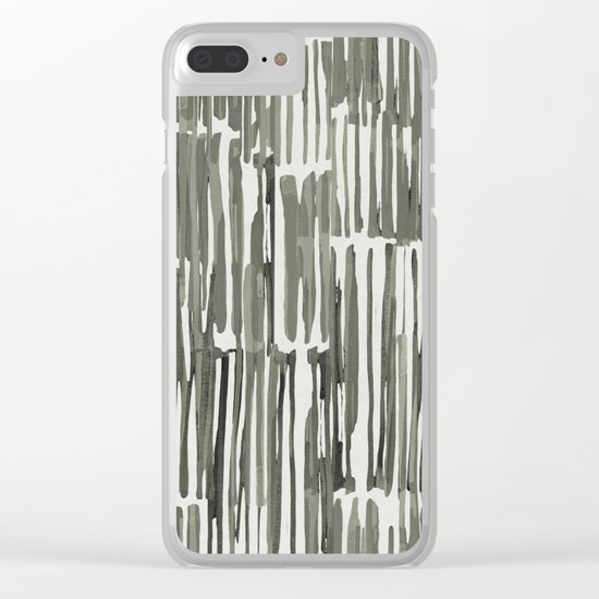 Simply Bamboo Brushstroke Green Tea on Lunar Gray Clear iPhone Case