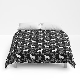 Bernese Mountain Dog florals dog pattern minimal cute gifts for dog lover silhouette black and white Comforters