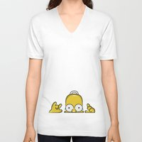 simpson V-neck T-shirts featuring Strange Homer Simpson by Yuliya L