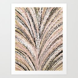 Rose Gold and Glitter Brushstroke Bursts Art Print