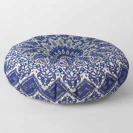 N33 - Blue Andalusian Bohemian Moroccan Mandala Artwork. Floor Pillow
