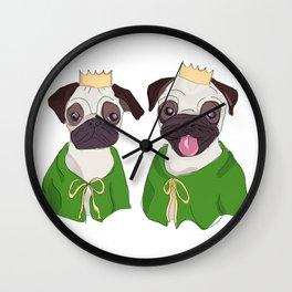 Royal Pug Twins Wall Clock
