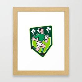 Irish Rugby Player Running Ball Shield Cartoon Framed Art Print