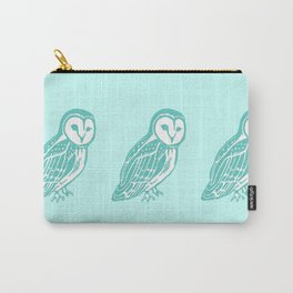 Turquoise Barn Owl Art Carry-All Pouch