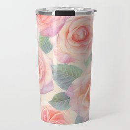 Opal Pink and Peach Painted Roses Travel Mug