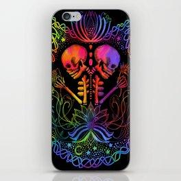 Entwined Skeletons in Dark Rainbow iPhone Skin