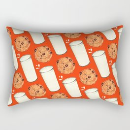 Milk & Cookies Pattern - Red Rectangular Pillow