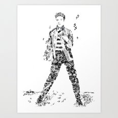 Elvis Presley Jailhouse Rock Text Portrait (Black and White) Art Print