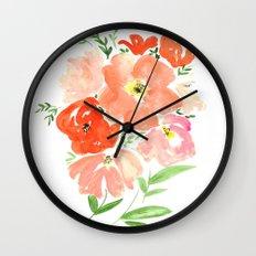 CORAL FLORALS Wall Clock