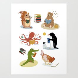 Animal Readers Art Print