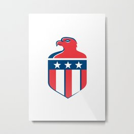 American Bald Eagle Head Flag Shield Retro Metal Print