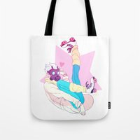 dmmd Tote Bags featuring Clear by Sara Kipin
