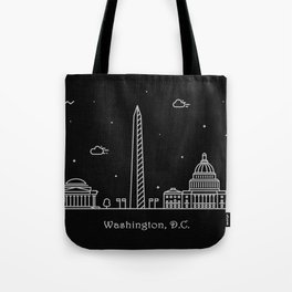 Washington D.C. Minimal Nightscape / Skyline Drawing Tote Bag