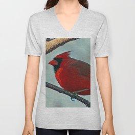 Pretty Male Cardinal Unisex V-Neck