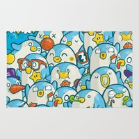 it crowd Area & Throw Rugs featuring Penguin Crowd by Bobsmade