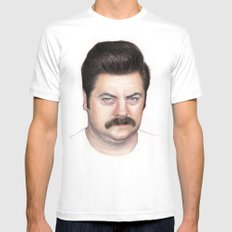 Ron Swanson Mens Fitted Tee MEDIUM White