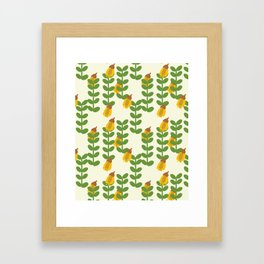 Retro Kowhai Pattern Framed Art Print