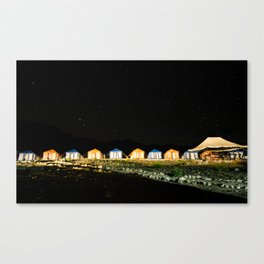 Campsite near Pangong Tso Lake in Ladakh at night Canvas Print