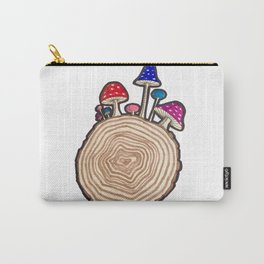 Mushrooms on a Log Carry-All Pouch