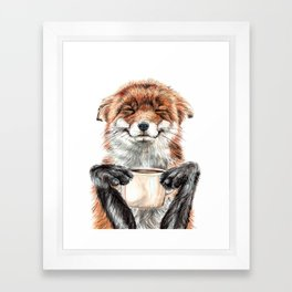 """ Morning fox "" Red fox with her morning coffee Framed Art Print"