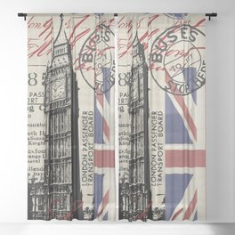 London Great Britain Big Ben Flag Collage Sheer Curtain
