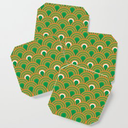 retro sixties inspired fan pattern in green and orange Coaster