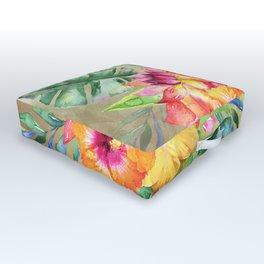 Tropical Hibiscus Garden Outdoor Floor Cushion