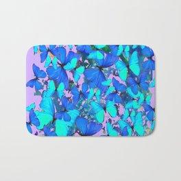 Blue Butterflies Pink Melange Art Bath Mat