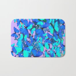 Blue Butterflies Pink Melange Art Bath Mat