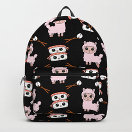 Cute fluffy cuddly funny Kawaii baby llamas, happy cheerful sushi with shrimp on top, rice balls and chopsticks black pattern design. Backpack