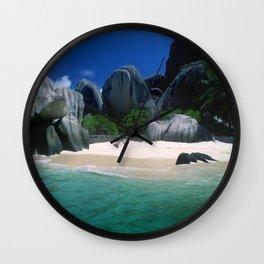 Seychelles Islands' Beach and Emerald Green Indian Ocean Wall Clock