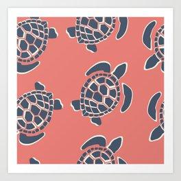 Lu's Pink Sea Turtles Art Print