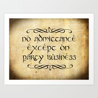 gondor Art Prints featuring No admittance except on party business by Augustinet