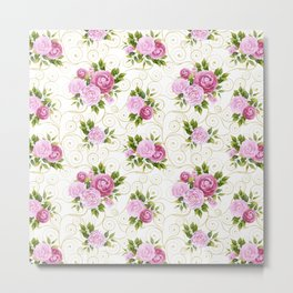 Elegant pink lavender green watercolor floral swirls pattern Metal Print