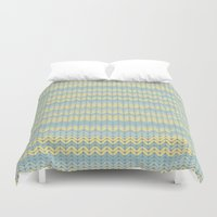 sweater Duvet Covers featuring Sweater knitting by Julia Brnv
