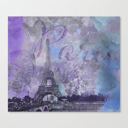 Purple Paris Watercolor Art Canvas Print