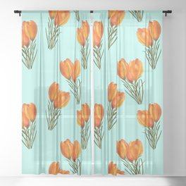 Yellow Crocuses Sheer Curtain