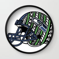 seahawks Wall Clocks featuring Polynesian Style Seahawks by Lonica Photography & Poly Designs