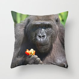 Gorilla Loves Her Pepper Throw Pillow