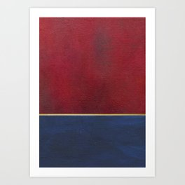 Deep Blue, Red And Gold Abstract Painting Art Print